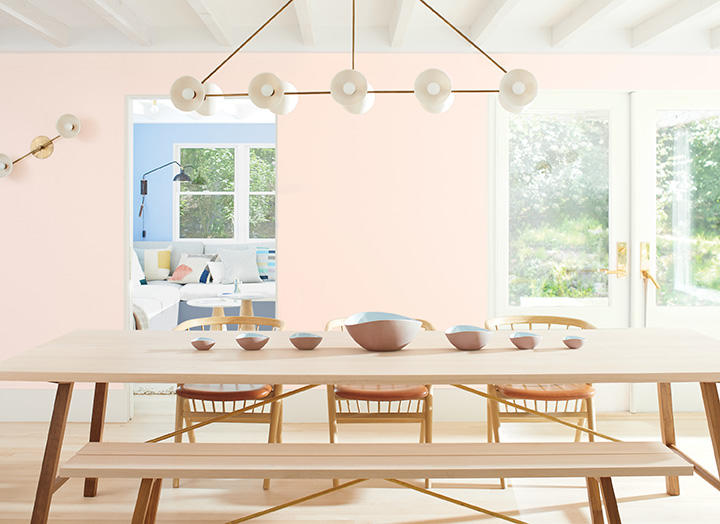 "A vignette featuring Benjamin Moore's Color of the Year 2020, ""First Light."""