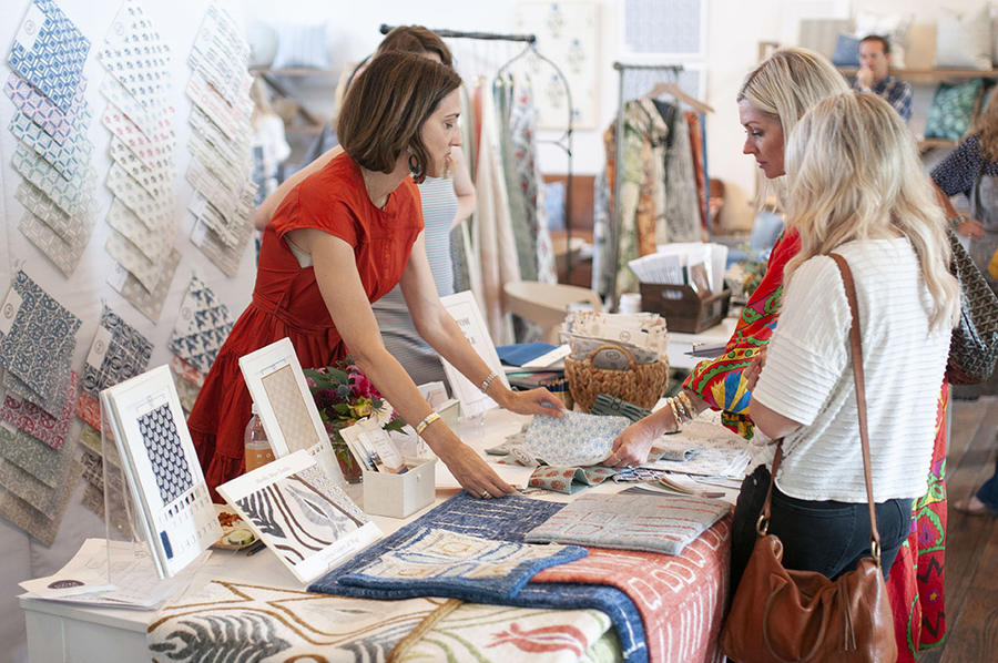 Textile makers introducing their product to designers at the Nashville edition of The Design Social in September.