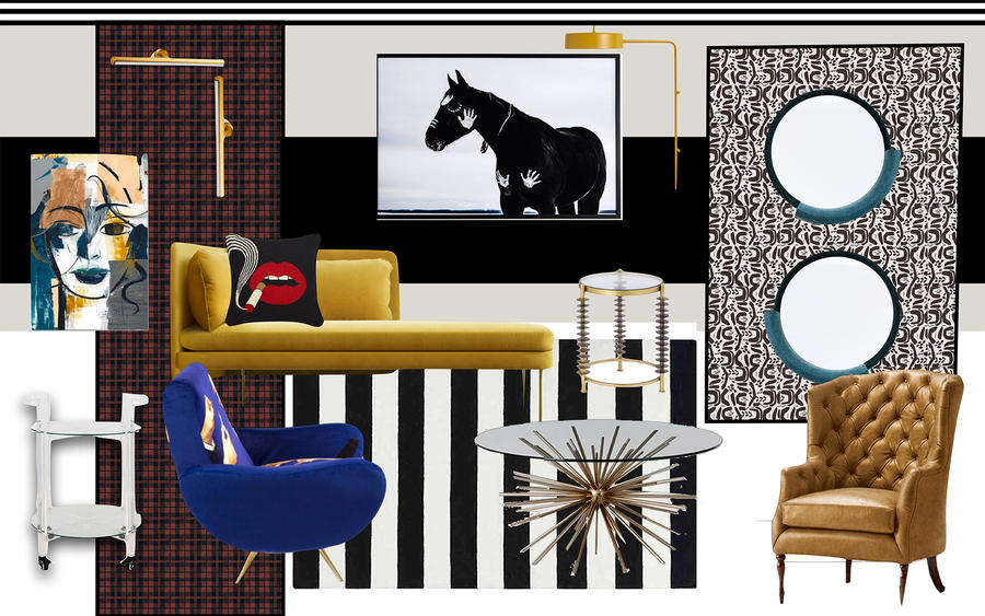 A mood board for the Small/Cool room that Carmen René Smith's Aquilo Interiors is creating.