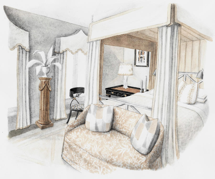 A rendering of Josh Pickering's room at the Southeastern Designer Showhouse & Gardens in Atlanta