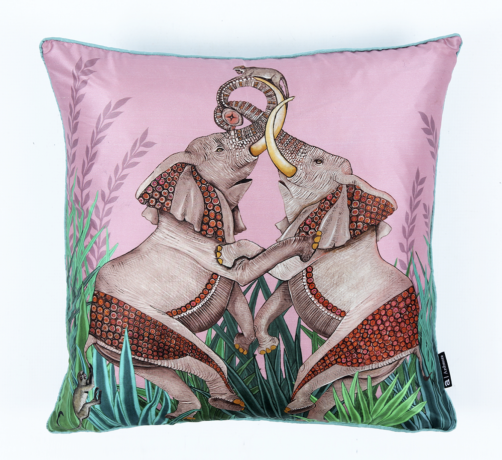 The Dancing Elephants pillow in Magnolia from Ngala Trading Co.
