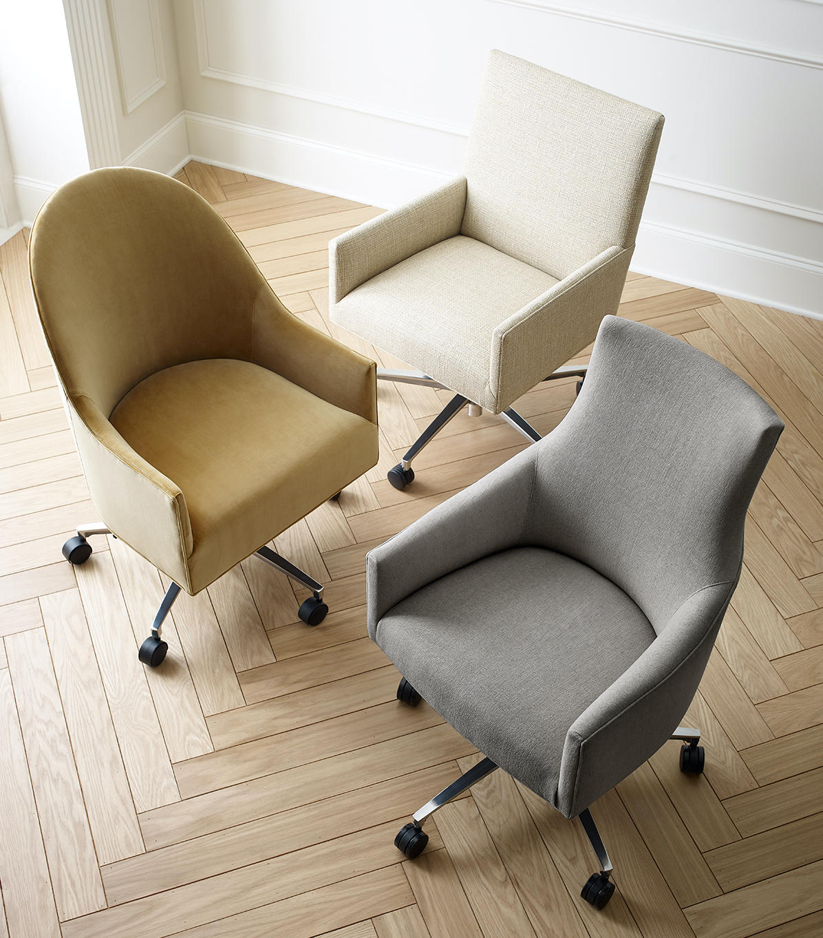 The Ada, Bella and Gage desk chairs from Mitchell Gold + Bob Williams