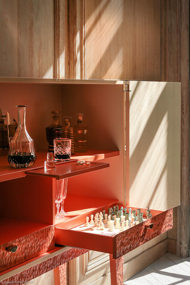 The interior of the Hebe liquor cabinet by Rinck