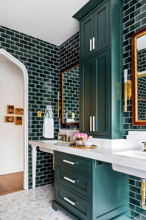 The moody and glamorous master bathroom