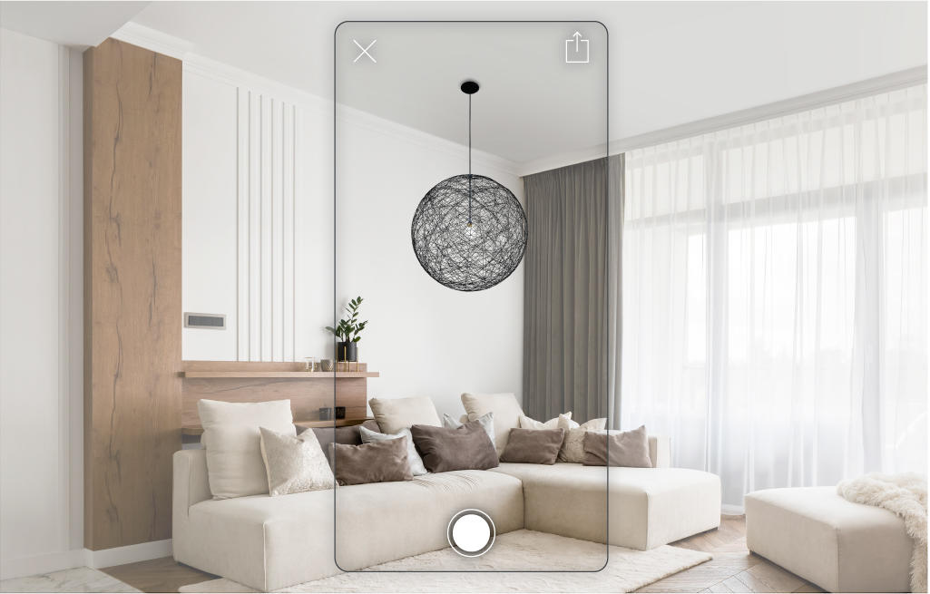 Lightology's AR tool  makes it easy to see how a new chandelier will look in situ