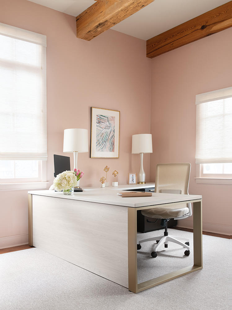 A combination of petal pink and pearl tones can be found throughout the office.