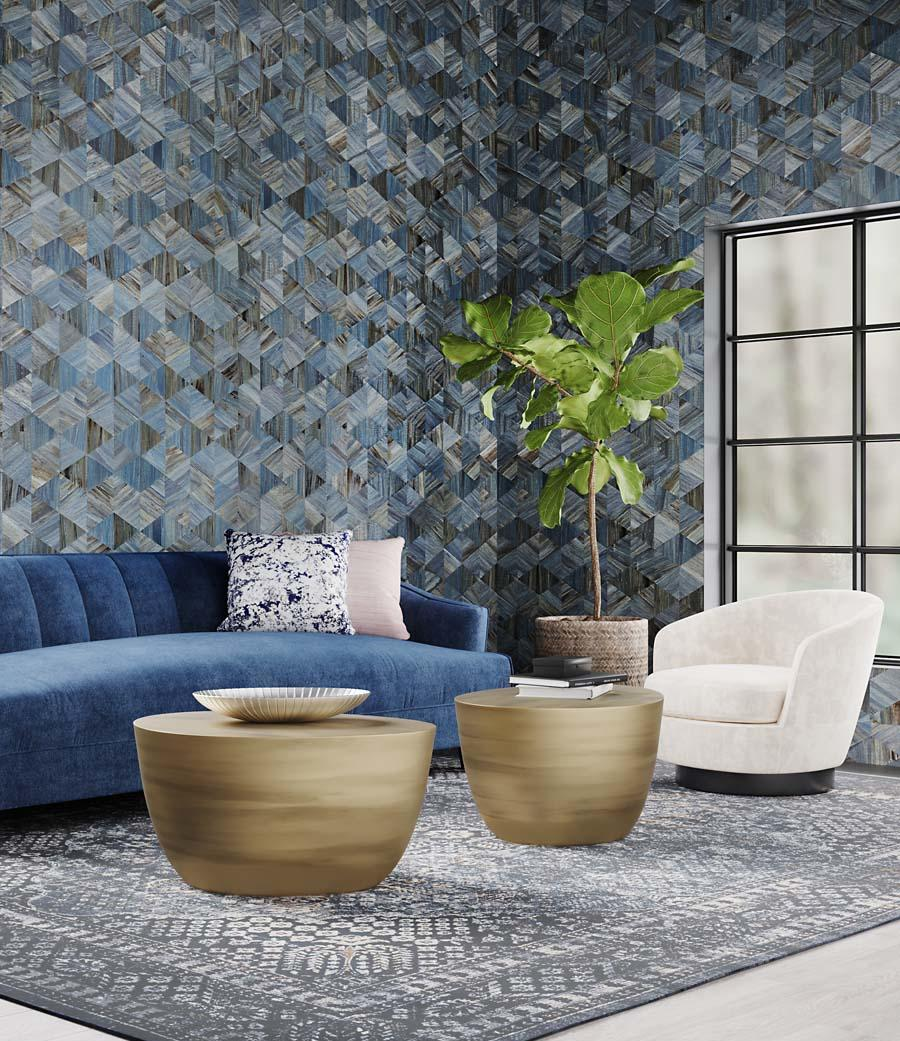 Phillip Jeffries's Harmony Hyacinth wallcovering in Acoustic Ocean Courtesy of Phillip Jeffries