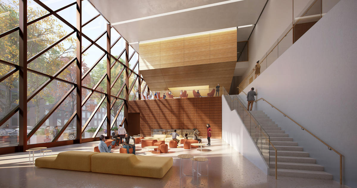 The lobby view of SOM's new New York Public Health Laboratory in Harlem