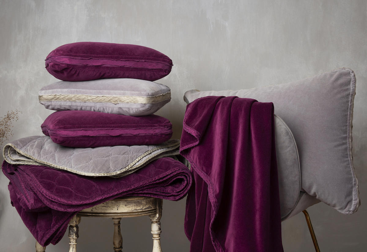 Harlow coverlet, shams, and large throw blanket in Fig and Moonlight from Bella Notte Linens