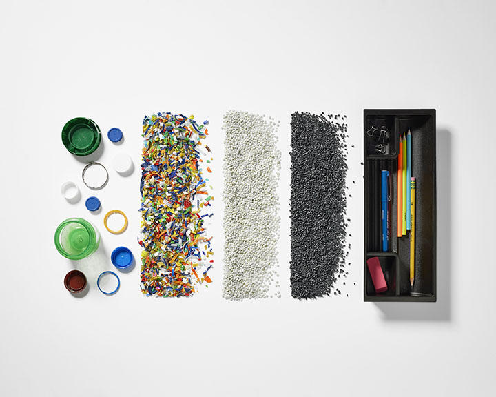 Ocean bound plastic is collected, crushed and then made into pellets before being molded into a new product.