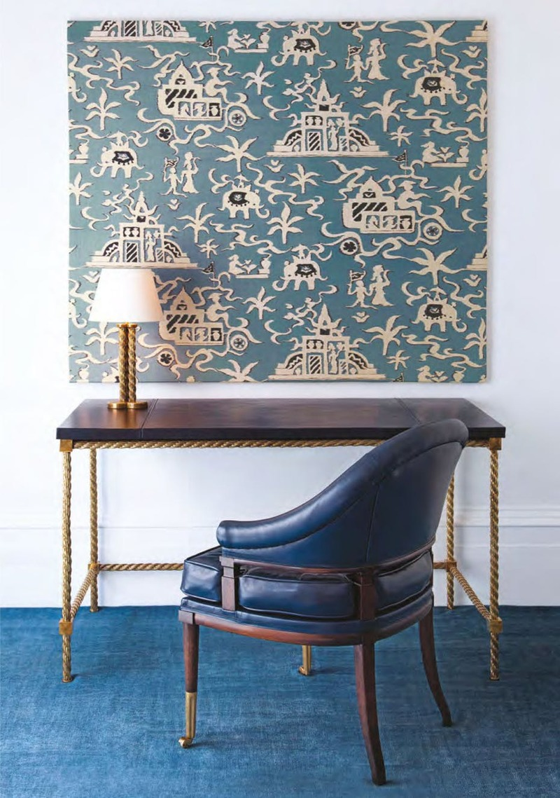 Wall panel in Elephant Temple with the Eldon chair, the Argo writing desk, the Argo table lamp; by Soane Britain