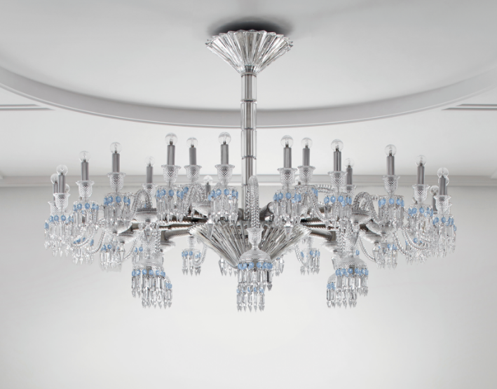 Interior designer and decorator Stéphanie Coutas's PARIS chandelier for Baccarat is on view at the brand