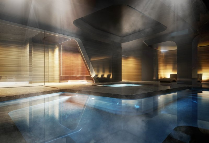 The residence has a 75-foot pool with a skylight, a private spa and fitness center