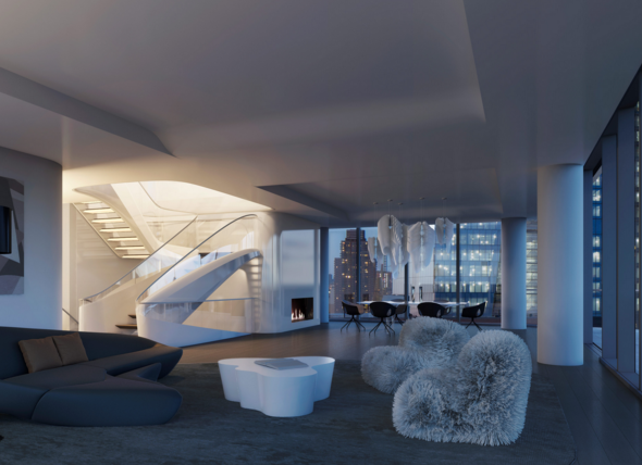 Living room, outfitted with sculptural staircase