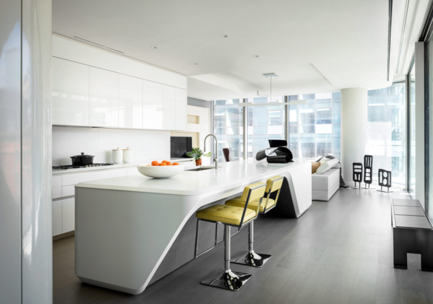 Kitchen designed by Hadid with Boffi, featuring Boffi's Xila collection, sculpted white marble and high-gloss formed millwork island