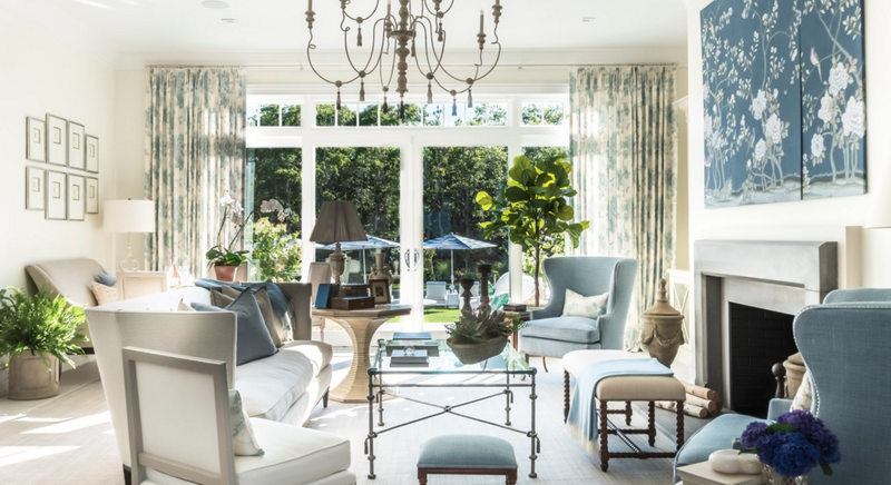 Great Room in the 2016 Hampton Designer Showhouse by Kate Singer Home; courtesy Alan Barry Photography