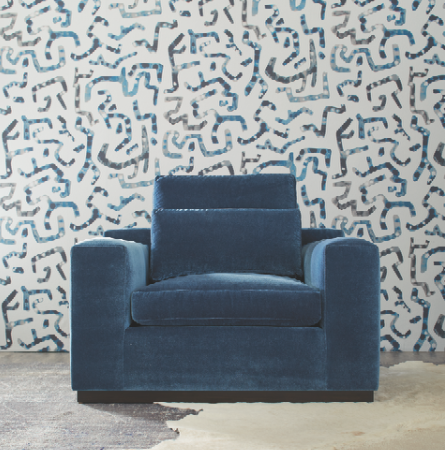 MATAWI wall covering by Rachel Brown. Velvet on chair is a Main Basics collection product, pattern is Foreign Affair in Paige Blue