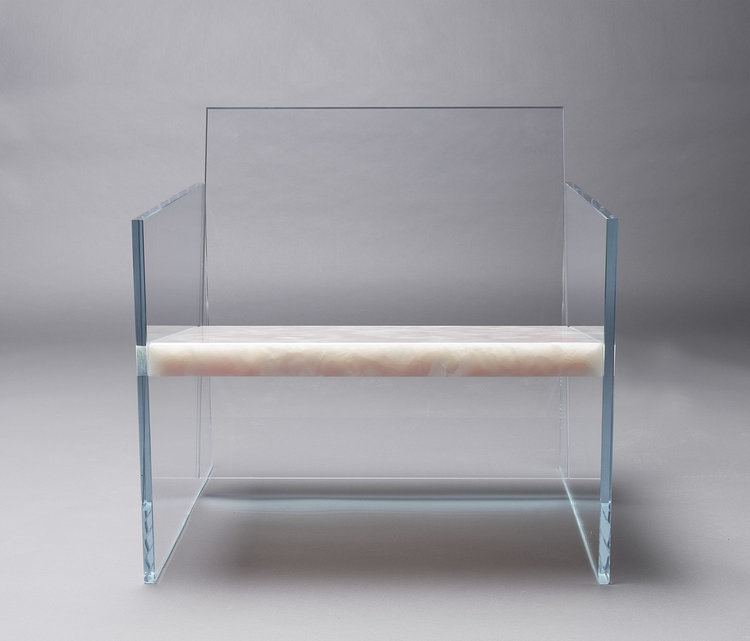 How Fragile This Love: Lounge chair in clear glass and pink onyx