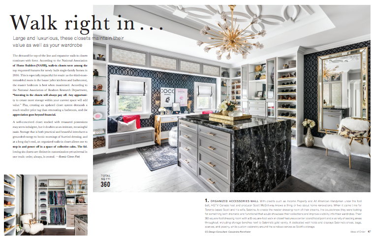 An Ideas of Order feature on walk-in closets