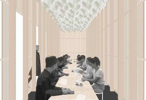 Interior rendering of the On Repeat Pavilion, designed by Universal Design Studio
