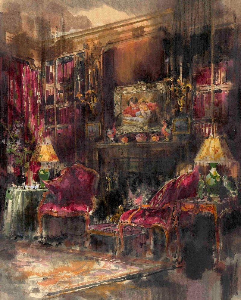 Goodman's 1990 painting of Greta Garbo's library; courtesy Dean Rhys Morgan