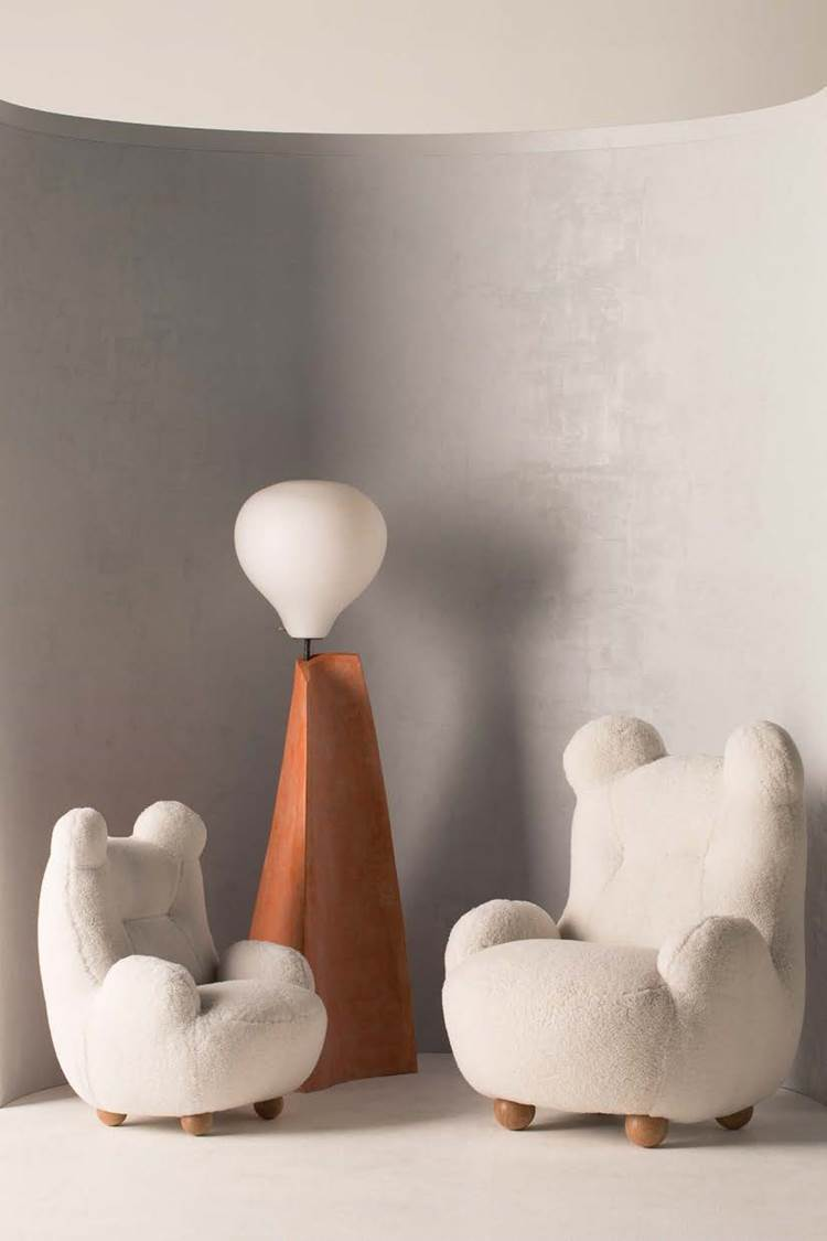 Bear Chairs and Marsha and James Floor Lamps, 2017, by Pierre Yovanovitch; courtesy Lux Productions by Jean-Francois Jaussaud, R & Company