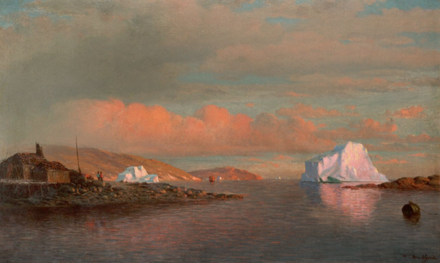 "William Bradford (1823–1892), Arctic Sunset, 1873, Oil on board, 12 1/16"" x 20⅛"". Courtesy of Questroyal Fine Art"