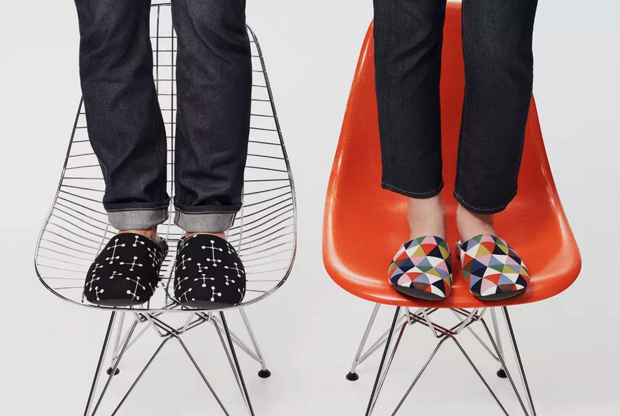 Uniqlo slippers inspired by Eames-designed patterns; courtesy Eames Office