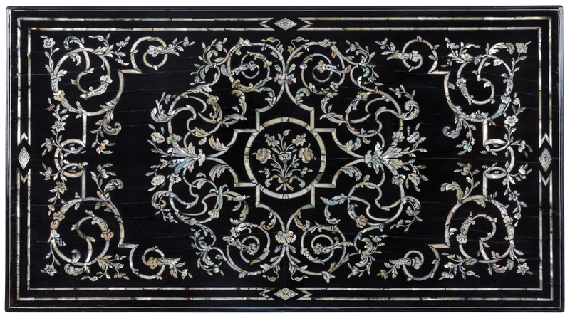 Burzio's Barque tabletop, made of ebony mother of pearl and metal inlaid