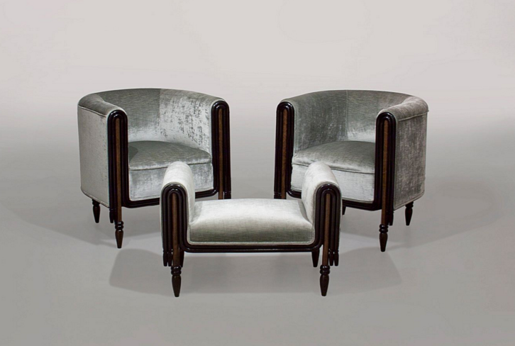 Lillian Nassau LLC's Paul Poiret for Atelier Martine Pair Of Lounge Chairs With Ottoman