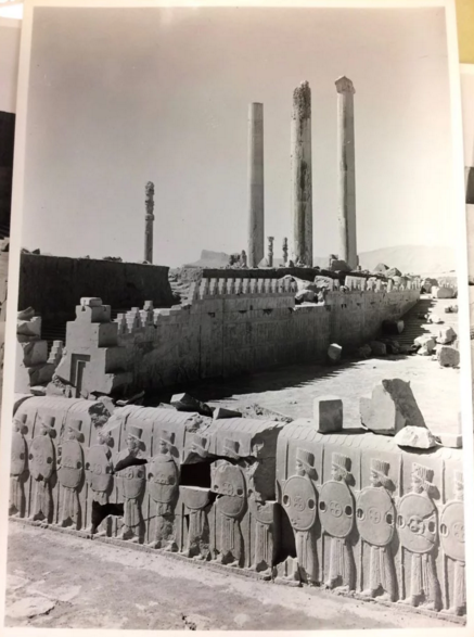 A 1933 photo of the reliefs in Iran; courtesy New York District Attorney