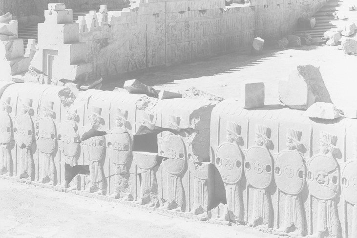 A 1933 photo shows the Persepolis ruins in Iran, where the bas-relief comes from; courtesy Oriental Institute of the University of Chicago