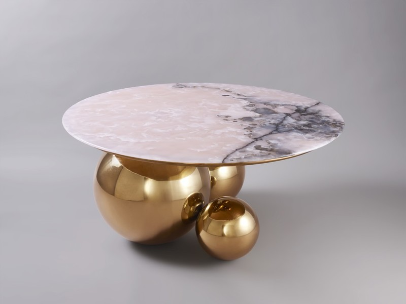 JinShi Pink Jade Coffee Table by Studio MVW, Galerie BSL, at Salon