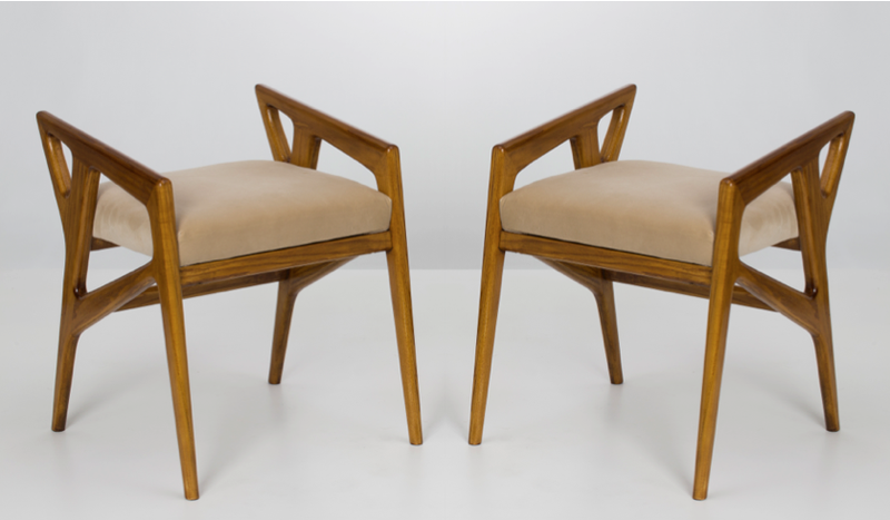 Pair of stools by Gio Ponti, Galleria Rossella Colombari, at Salon