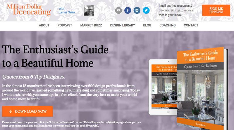 "Swan's ""Million Dollar Decorating"" site promotes his podcast and free e-book"