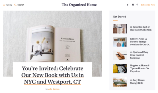 'We believe in better living through organization,' reads The Organized Home's manifesto.