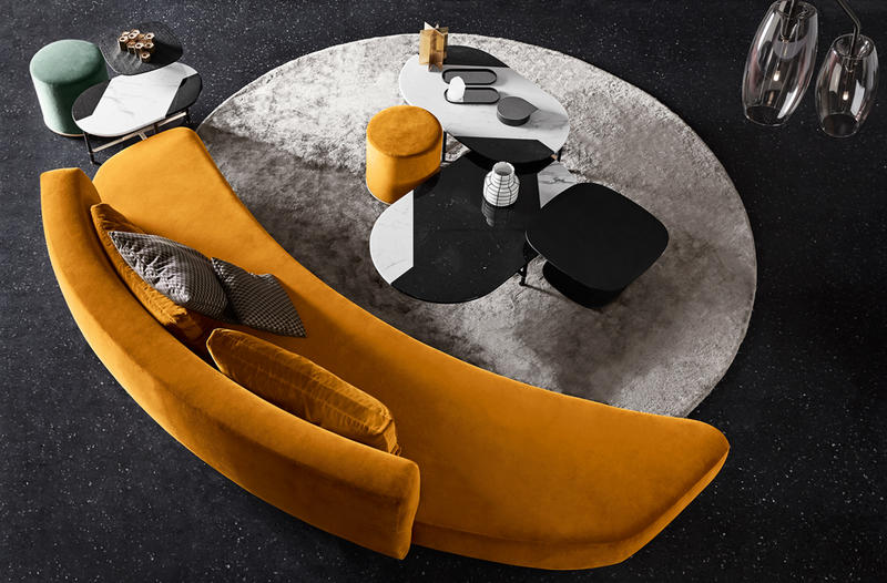 Audrey Sofa and pair of black and white Cookies Tables; courtesy of Gallotti & Radice