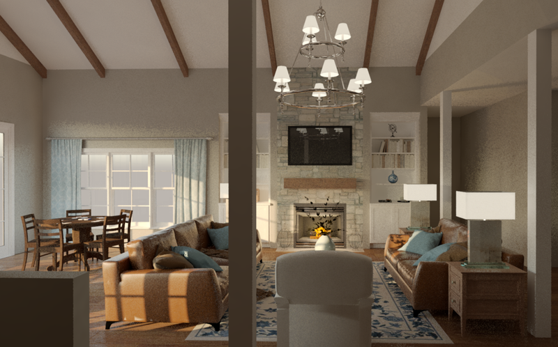Living room rendering; courtesy Designs Rendered, LLC