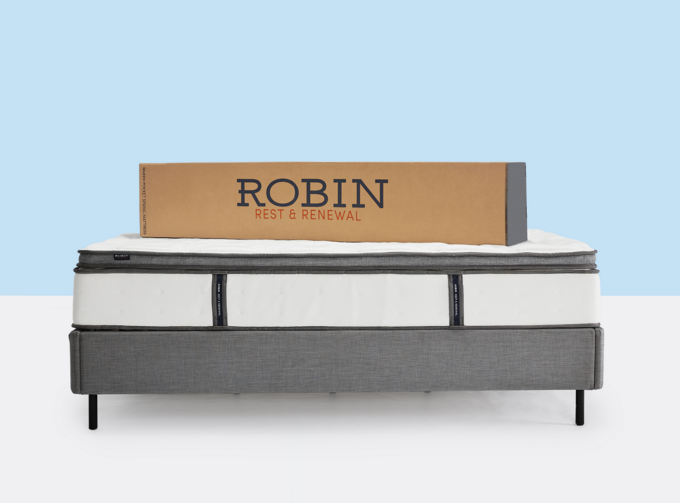 Robin Rest & Renewal bed with packaging pictured on top; courtesy Williams-Sonoma