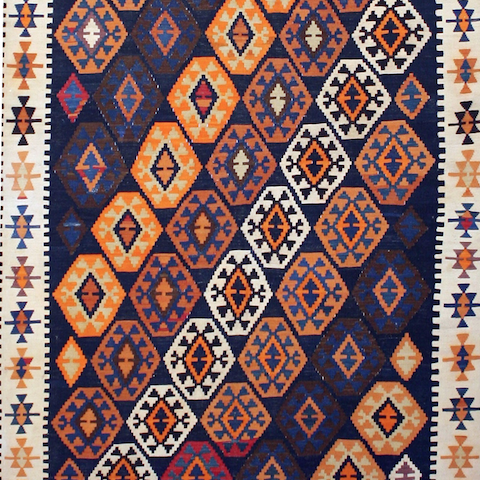 antique caucasian Baku kiilim; courtesy Detroit Rug Restoration