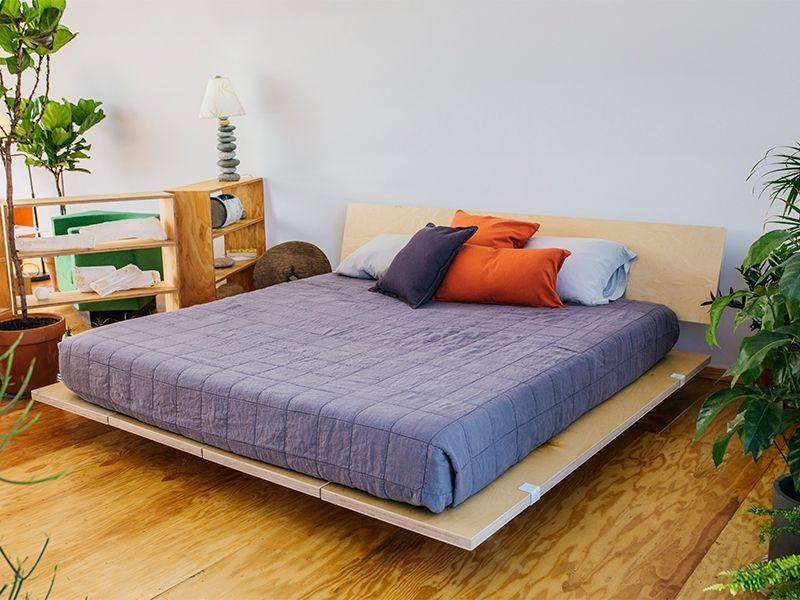 A Floyd bed frame, as seen in the brand's Stay Floyd Airbnb initiative; courtesy Airbnb