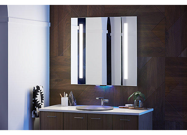Kohler's Verdera Voice Lighted Mirror with Amazon Alexa; courtesy Kohler