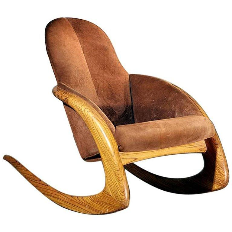 Crescent Rocker by Wendell Castle in Rare Zebra Wood; currently available on 1stdibs