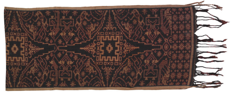 A ceremonial cloth from Bali made of cotton, dye, double ikat; courtesy the Division of Anthropology, American Museum of Natural History