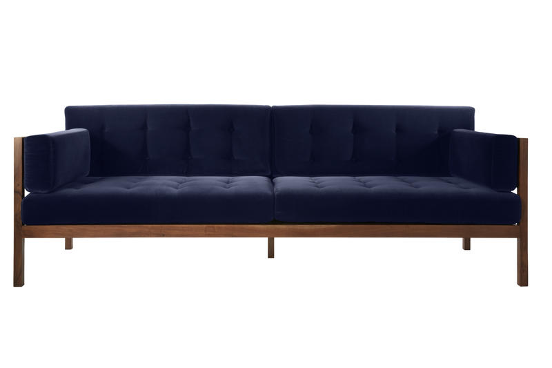 The Navy Velvet Hollywood Sofa by CB2 x Fred Segal