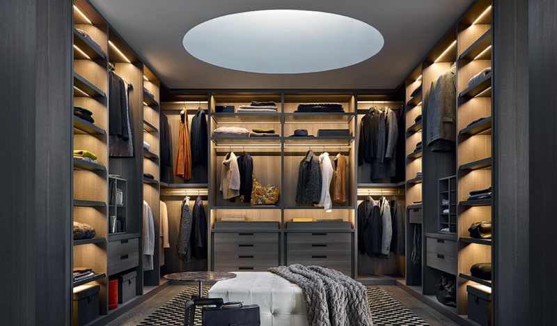 Senzafine closet system; courtesy Poliform