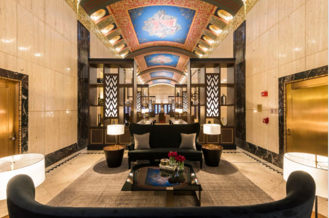 Historic lobby at 100 Barclay; courtesy Rich Caplan