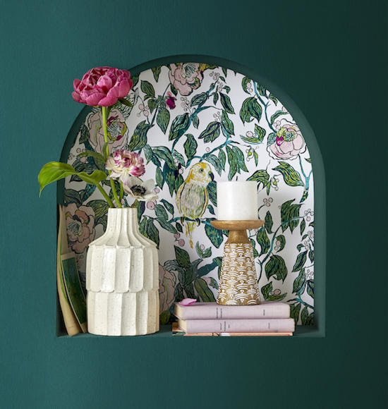 Bird-themed wallcovering designed by the Target team for the new Opalhouse collection; courtesy Target