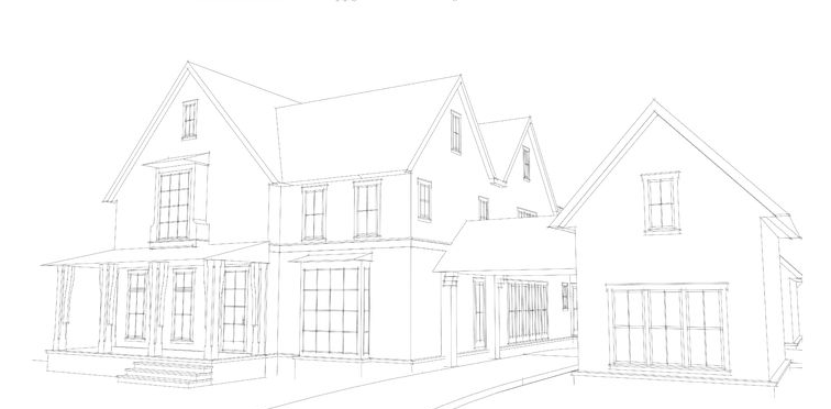 A sketch of the Whole Home showhouse; courtesy House Beautiful