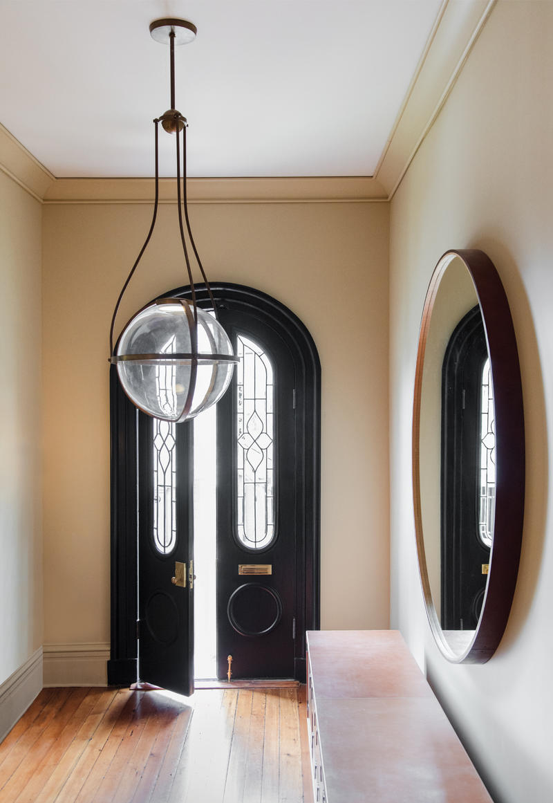 Kensington Pendant in the Entryway of a Historic Charleston Townhouse designed in partnership between The Urban Electric Co. and Workstead; courtesy of The Urban Electric Co.